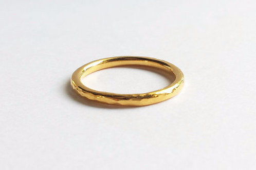 14K Yellow Gold Hammered Wedding Band