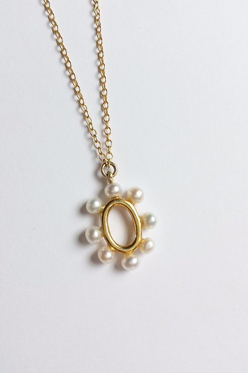 Delicate Yellow Gold and Pearl Drop Necklace