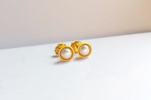 Gold Cup Studs with White Freshwater Pearls