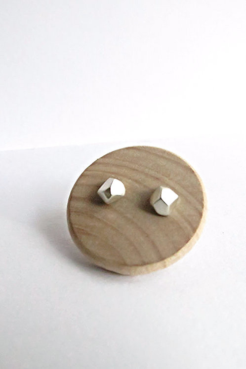 Minimalist Faceted Sterling Silver Pebble Studs