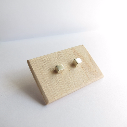 Minimalist Sterling Silver Cube Studs