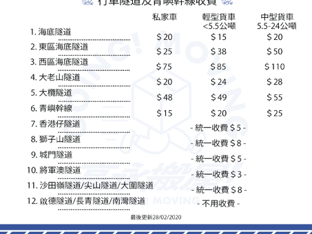 【搬屋問題】報價包唔包埋隧道費?