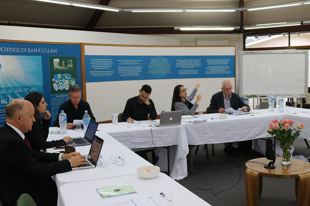 Ida Walker (second from right), who works with the Office of External Affairs in Australia, speaks in a seminar about social cohesion with participants from around the country. The gathering was held last week on the grounds of the Baha'i House of Worship in Sydney.