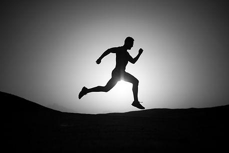man silhouette, running guy on sunset fi