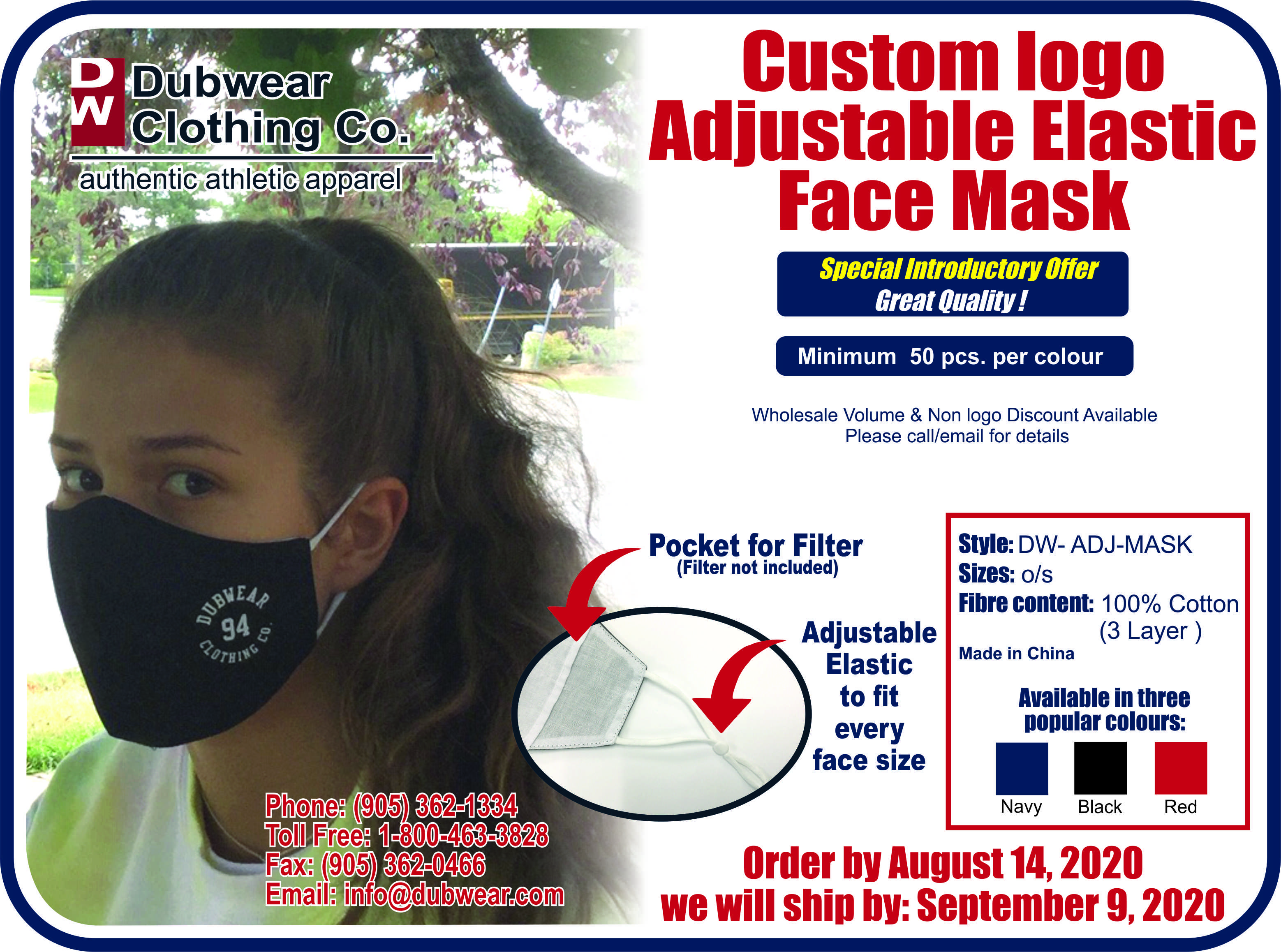 Dubwear Adjustable Custom Mask Promo 202