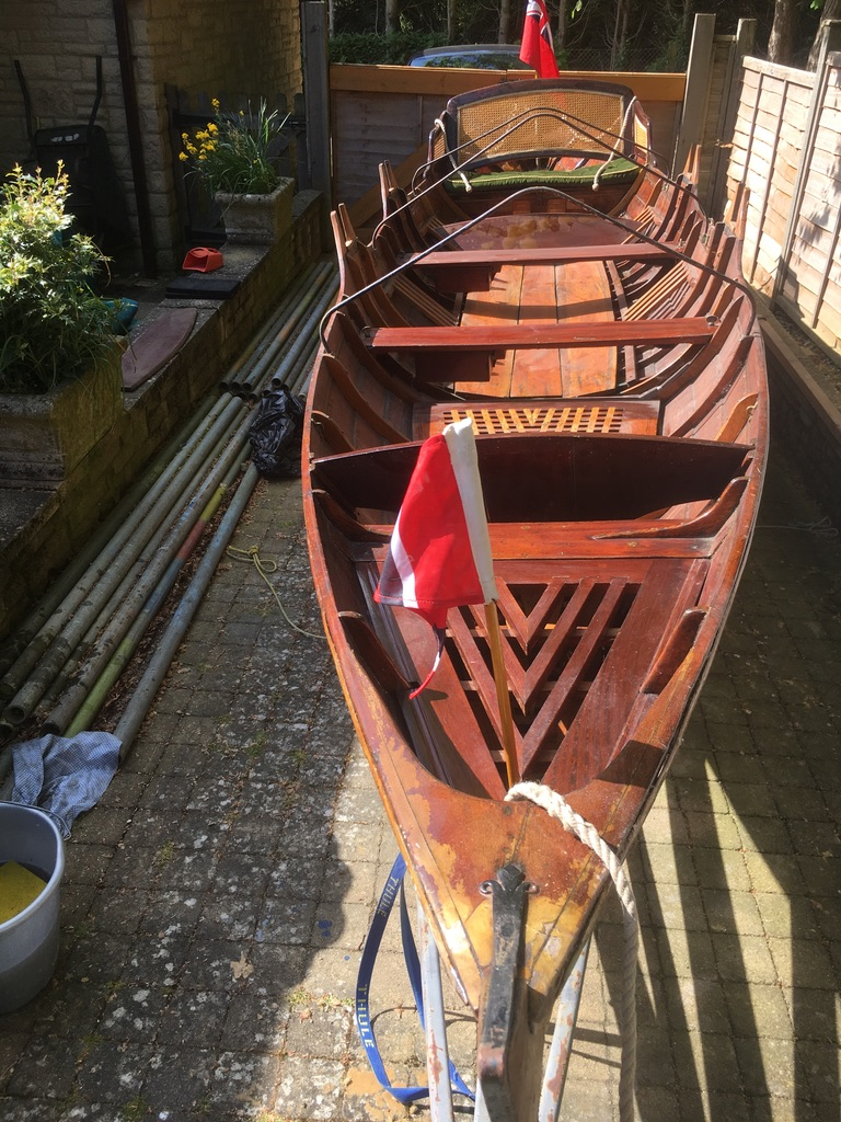 Double Rowing Skiff in Mahogany
