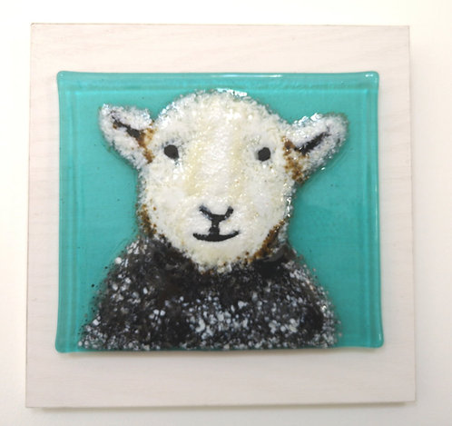 Herdwick Sheep Fused Glass Wall Hanging