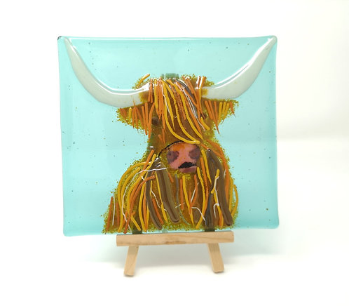 Highland Cow Fused Glass Tile on Wooden Stand