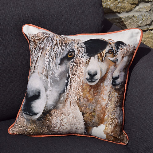 'Three Sheep' Handmade Cushion