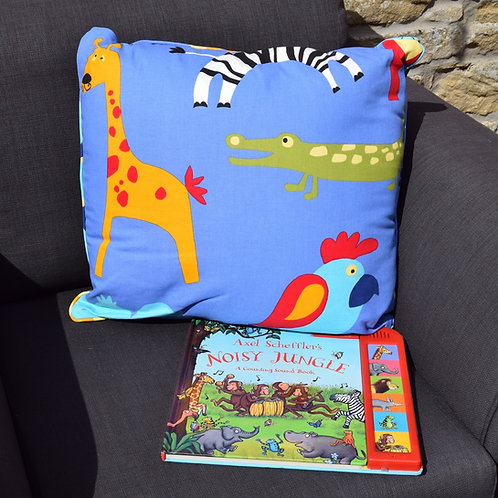 Jungle Animals Cuddle Pillow with Book