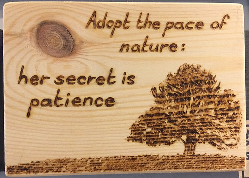 'Adopt the Pace of Nature' Pyrography Sign