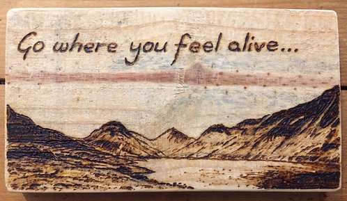 'Go Where You Feel Alive' Pyrography Sign