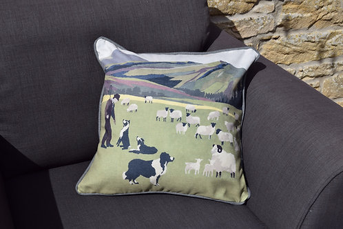 'Shepherd Scene' Handmade Cushion