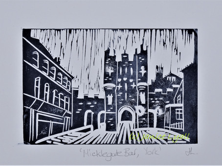 Micklegate Bar, York' - Linoprint