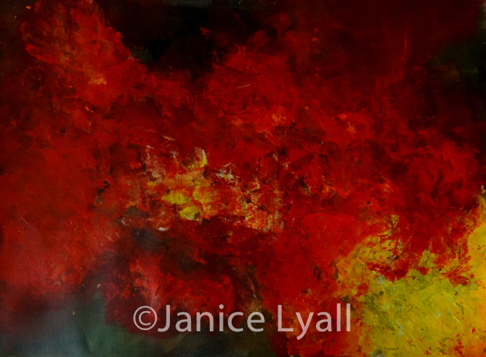 Acrylic painting by Janice Lyall showing layering possibilities of using acylic paint