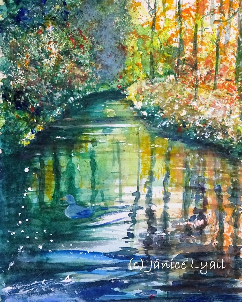 Canal in Autumn painting by Janice Lyall