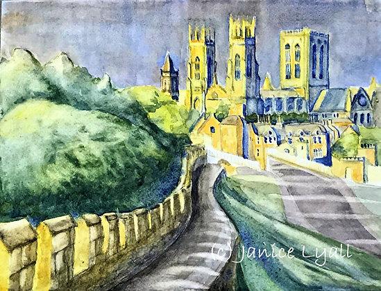 'Walking along York City Wall'
