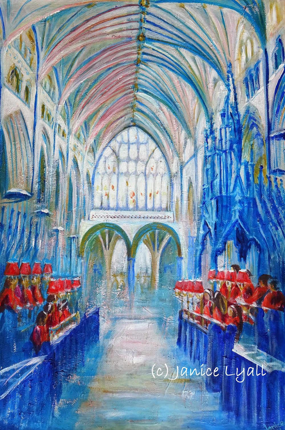 Choir Practice at Exeter Cathedral painting by Janice Lyall