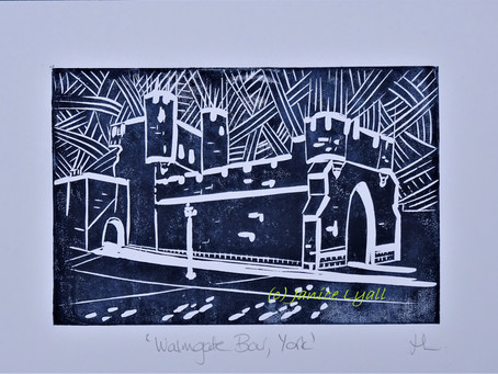 'Walmgate Bar, York' - Linoprint