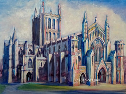 Hereford Cathedral wrapped in cotton wool
