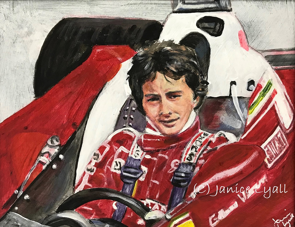 Painting of Gilles Villeneuve F1 driver in Ferrari