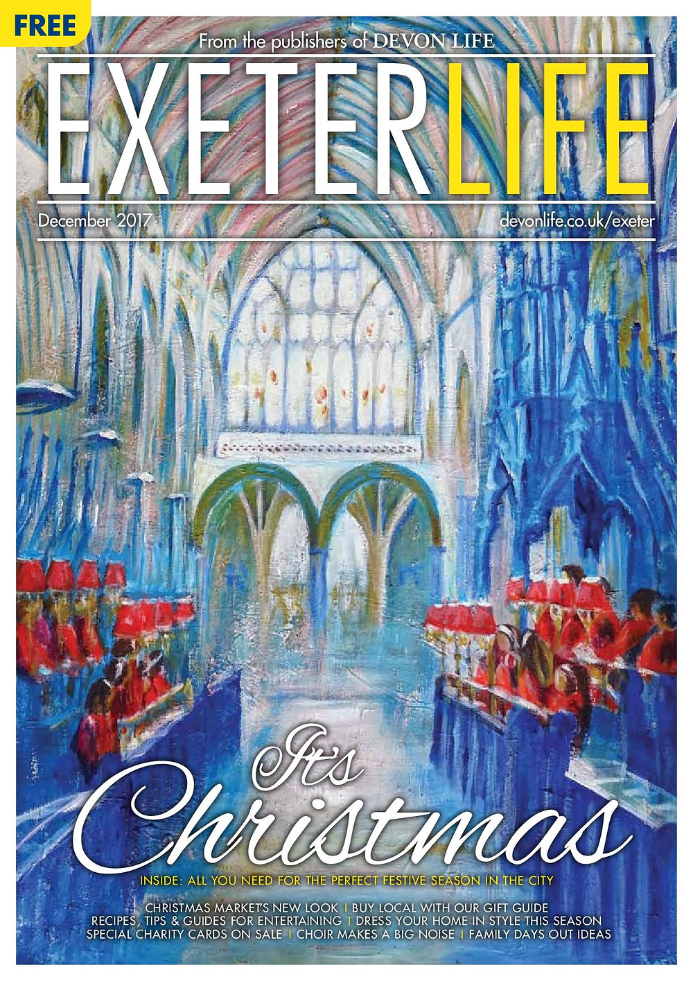 Janice Lyall painting on front cover of Exeter Life Magazine