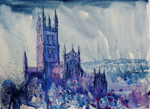 Gloucester Cathedral in Cold Rain