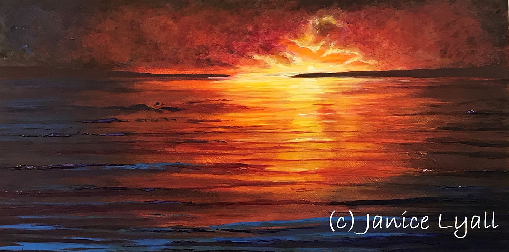 'Sunset' Janice Lyall painting in acrylic
