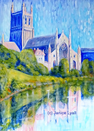 'Worcester Cathedral on a sunny afternoon'