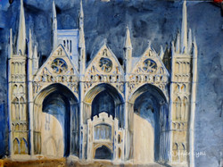 Peterborough Cathedral the West Front in Moonlight