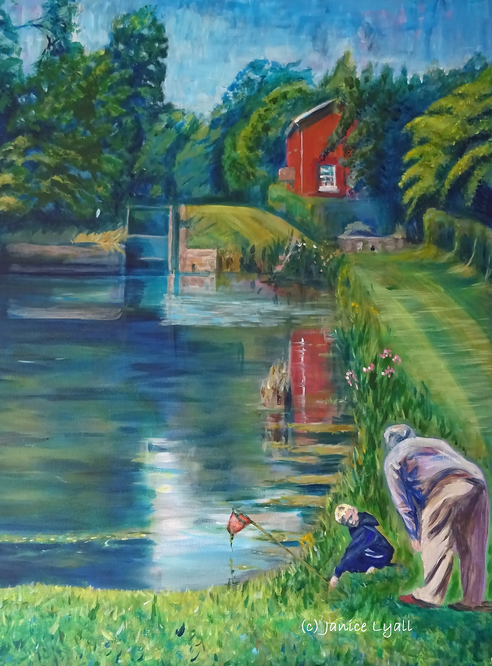 Oxenhall Lock painting by Janice Lyall showing child with dip net talking to volunteer