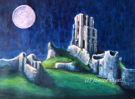 'Full Moon at Corfe Castle'