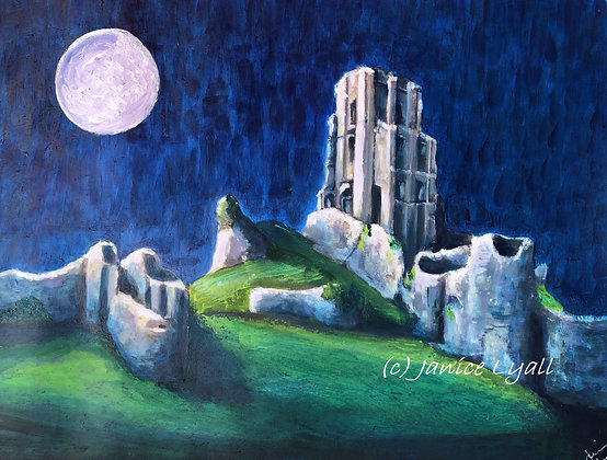 'Full Moon at Corfe Castle'
