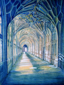 Gloucester Cathedral Cloisters East Walk copyright.jpg