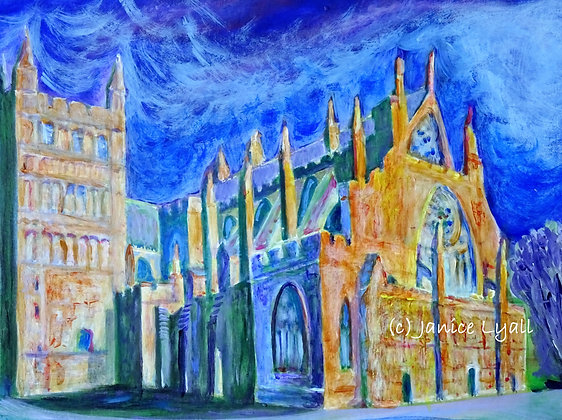Exeter Cathedral in the heat of a summer's evening