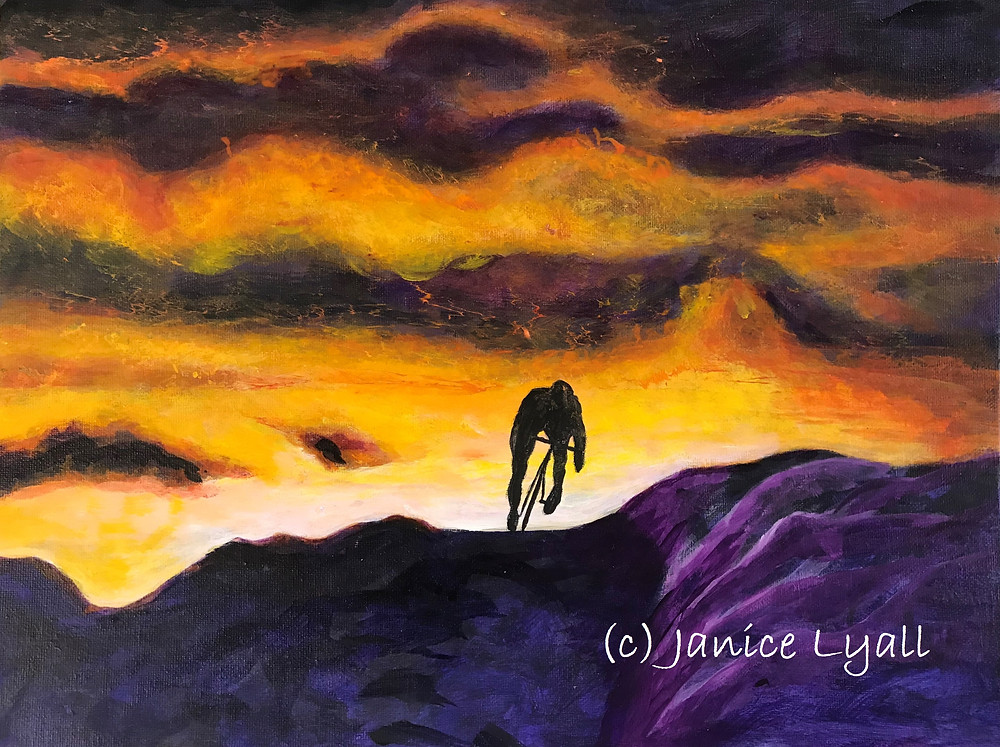 Over the Brow painting of a cyclist at sunset by Janice Lyall