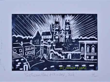 'Bootham Bar and Minster, York' - Linoprint