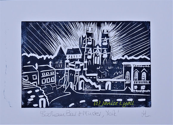 Bootham Bar and Minster, York Linocut