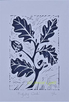 Might Oak Linocut