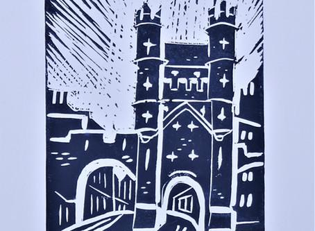 Monk Bar, York' - Linoprint