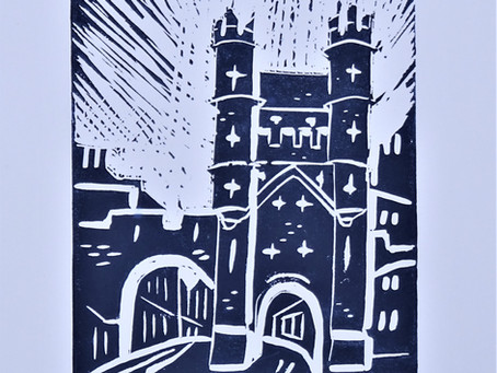 Monk Bar, York' - Linoprint