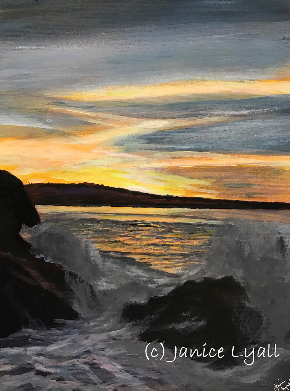 Sunset on the Water painting by Janice Lyall