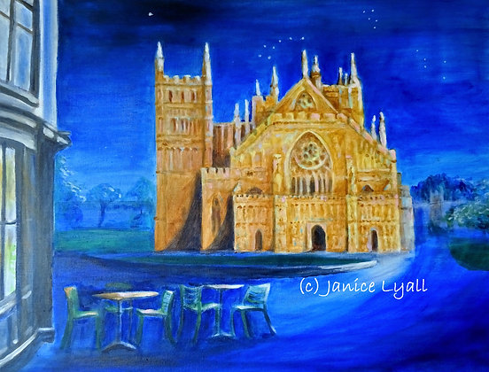 Exeter Cathedral bathed in Moonlight