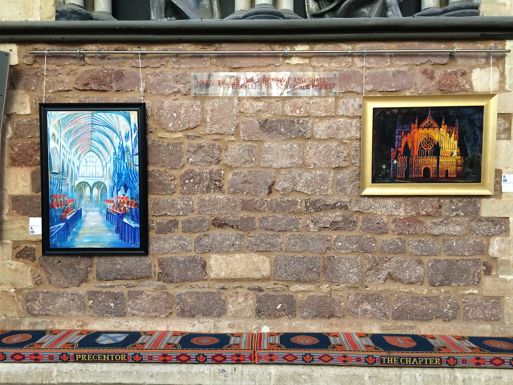 Janice Lyall paintings on the walls of Exeter Cathedral Chapter House