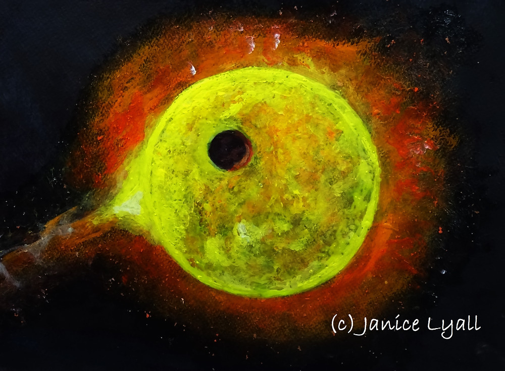 Earth from a distance infront of the sun - painting by Janice Lyall