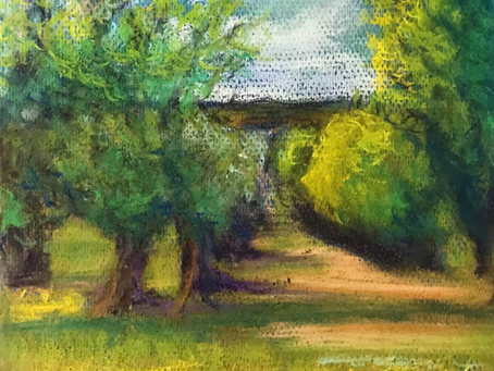 'The Old Orchard' in pastel