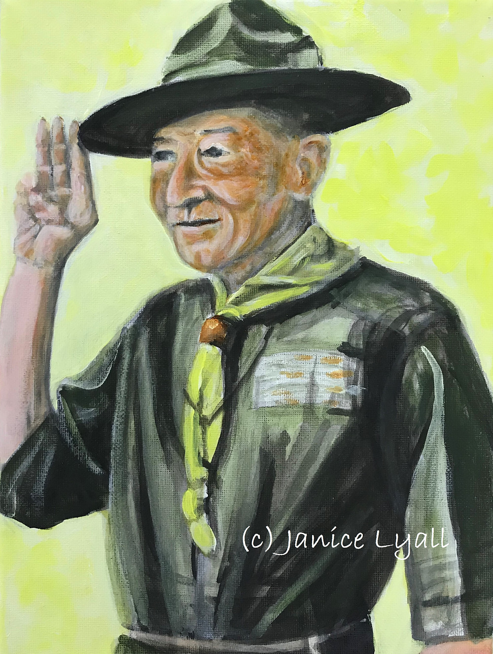 Painting of Lord Baden-Powell by Janice Lyall