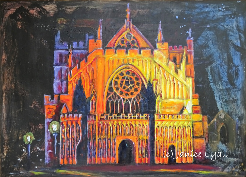 Exeter Cathedral at night when the first flakes of snow are falling - colourful painting by Janice Lyall