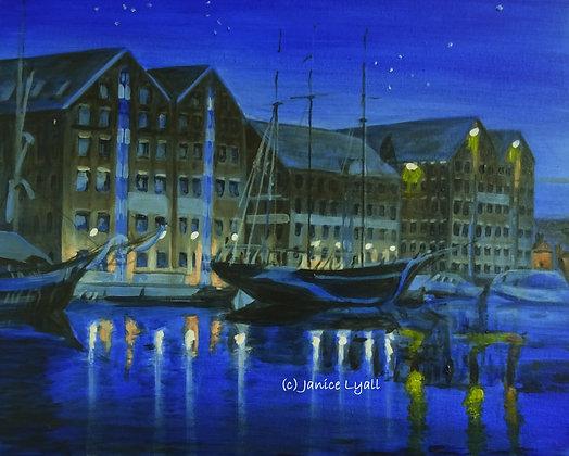Gloucester Docks under a Starry Sky