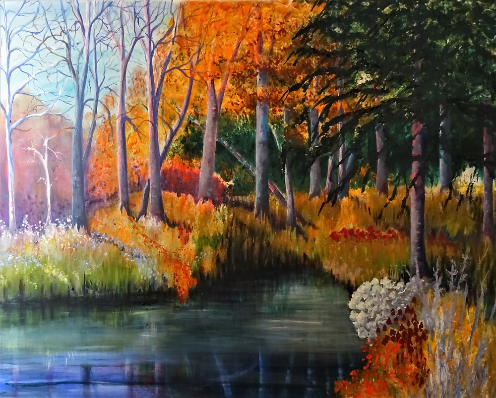 Janice Lyall painting of Autumn Colours of wooded landscape beside water